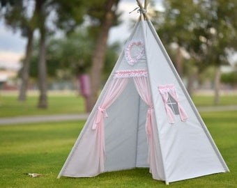 Hearty Cotton Teepee Kids Teepee, Kids Play Tent, Childrens Play House, Tipi,Kids Room Decor