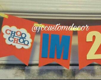 One Two Train highchair Banner-Train Theme Banner-Choo Choo Banner-Train Birthday Banner-Train highchair banner-Train One Two Banner-One-Two