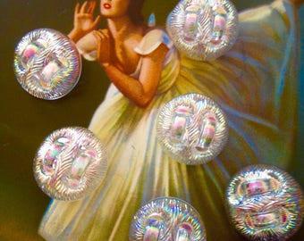 6 aurora borealis glass buttons - vintage buttons - 2.2 cm (003)