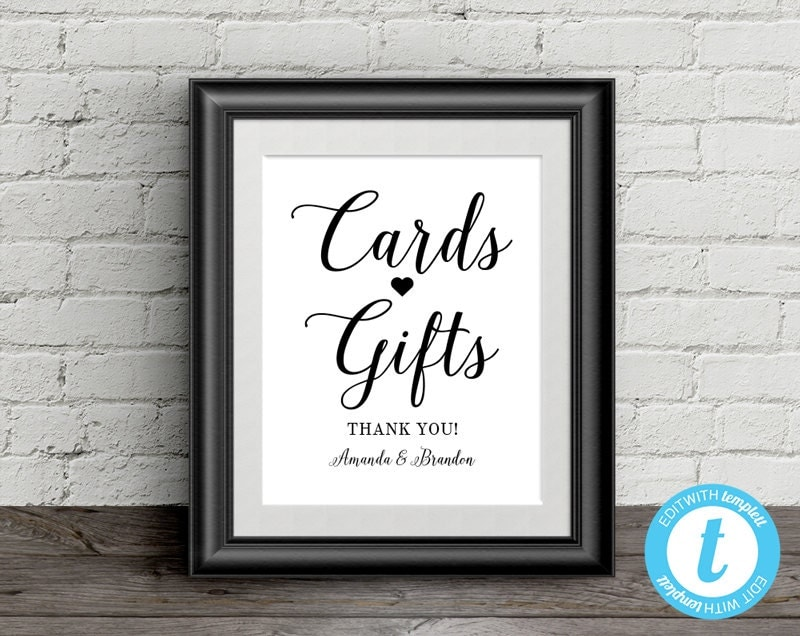 Wedding Gift Table Sign Template : Cards and Gifts Sign Wedding Template 8x10 Gift Table Sign