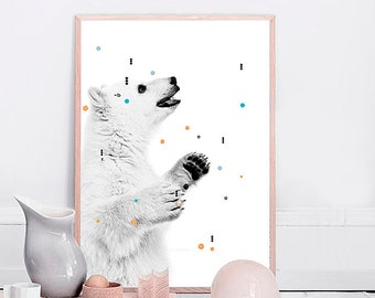 NURSERY DECOR, Polar Bear Print, Kids Art, Playroom printable, Nursery Print, Cute Animal Print, Kids Room Wall Decor, Affiche Scandinave