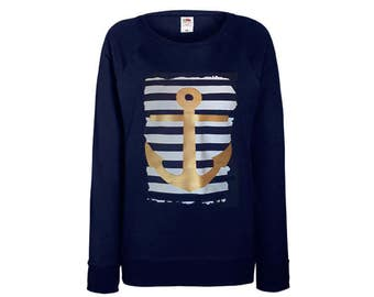 Women's sweater with anchor print maritime sweatshirt Marine XS S M L XL XXL navy white gold