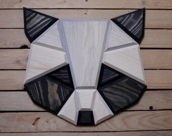 wooden raccoon wall decor