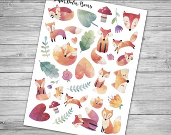 Watercolor Fox Stickers for Planners