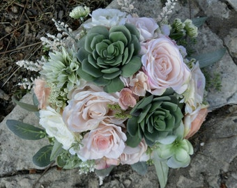 Blush & Sage Succulent Bouquet