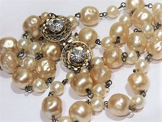 1960s Vintage French Costume Jewelry Designer FREIRICH Necklace Mid Century Choker Double Stand Faux Baroque Pearl Fancy Crystal Rhinestone