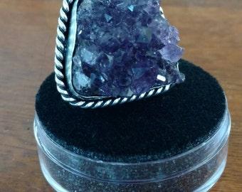Amethyst Crystal Ring Size 6