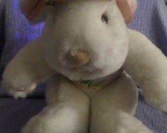 "Vintage Francesca Hoerlein Bunny Plush Rabbit Pink Satin Feet ears paws Florida outfit on 11"" visor on  ECU big feet white"
