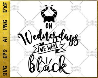 On wednesdays we wear black SVG Halloween svg Halloween gift idea cut files Cricut Silhouette Instant Download vector SVG png eps dxf