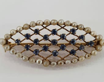 14K Vintage sapphire and pearl brooch