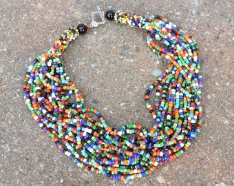Vintage Tribal Multi Strand Beaded Necklace South Africa