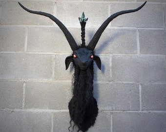 Large Faux Taxidermy ooak hand made Baphomet Head mount horror sculpture
