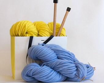 40 + Colors Bulky Yarn #PremiumMerinoMini - Super Bulky Yarn for Chunky Knits, Blanket Yarn, Big Yarn, Thick Yarn, Hand-Spun Yarn