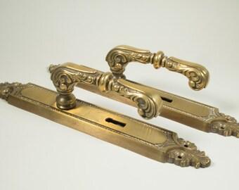 Vintage solid brass door handle, door knobs