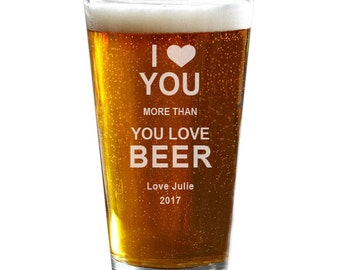 Valentine's Day Pint Glass, Personalized Beer Glass, Husband Gift, Boyfriend Gift, Anniversary Gift