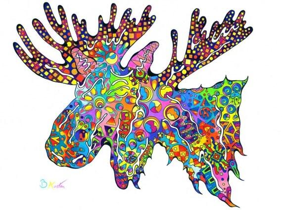Colorful Moose Art Print - Rainbow Moose Design