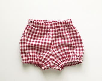 Red Gingham Bloomers for babies and toddler girls