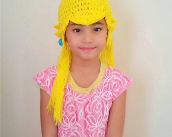 Princess Peach crochet wig hat, princess hat mario and luigi, nintendo crochet hat,princess crochet hat,princess peach costume,princess wig