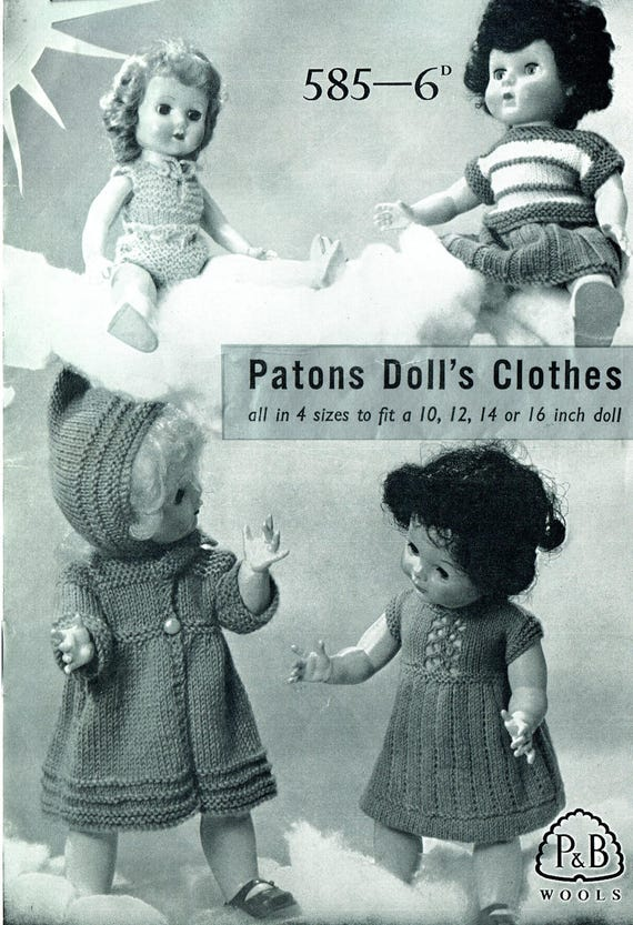 Patons Knitting Patterns For Dolls Clothes : PDF Vintage Doll Clothes Knitting Pattern Booklet 1950s Patons