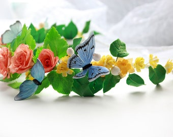 Butterfly Crown, Flower crown boho, Floral headband, Wedding halo, Butterfly headband, Hair wreath, butterfly hair wreath