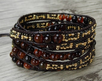 boho wrap bracelet jasper Agate bead Wrap bracelet Seed beads bracelet gemstone bracelet leather bracelet gypsy leather wrap braceletSL-0383