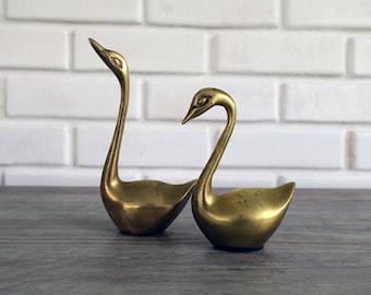 Vintage Brass Swan Set, Vintage Brass Geese Set, Mid Century Geese Figurines, Midcentury Swan Figurines, Vintage Brass Swan Figurines