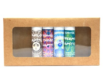 Natural Conditioning Chapstick Sampler Set - Vanilla, Blueberry, Cherry and Peppermint