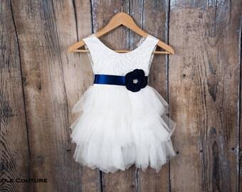 White Lace Flower Girl Dress, White Tulle, Wedding dress, Tutu Dress, Elegant Boho Chic, Couture, Bohemian, First Communion, Shabby Chic
