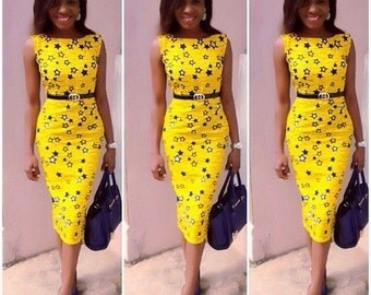 Yellow African Print Formal/Office  Dress For Women
