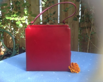 Vintage Deep Red Leather Block Purse