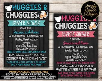 Huggies and Chuggies Baby Shower Invitation - Diaper Shower Invitation