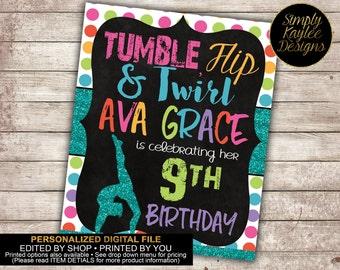 Gymnastics Birthday Party Decorative Sign