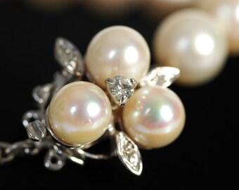 Vintage 14 K White Gold Diamond Pearl Necklace