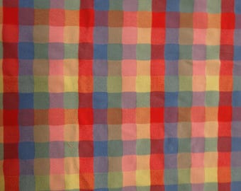 Multi Color Small Plaid Cotton Lycra Fabric