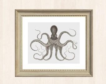 Octopus Cross Stitch Pattern Squid Vintage Style Aquarium Embroidery Antique Style Fish Cross Stitch Pattern Octopi Cephalopod Devilfish DIY
