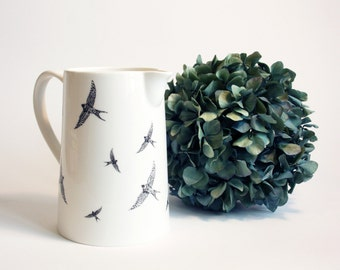 Can Swallows, Screenprint, black and white, can tableware, nature print, tableware