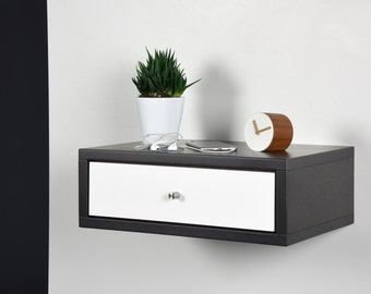 End table / End table with drawer / Modern nightstand / Wood side table / Floating white Corian bedside / Stone gray console mid century