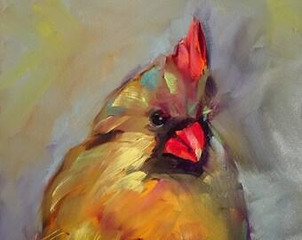 cardinal // female cardinal // cardinal painting // cardinal art // cardinal gift // female cardinal painting // original art // bird art