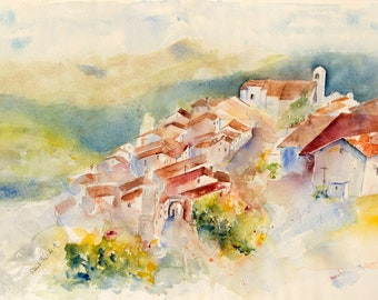 Original watercolor of a village in Portugal, Original painting of houses in Portugal, portuguese village watercolour - Marvao in Alentejo