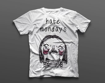 Monday Blues, Handmade T-shirt printed with eco-friendly material.