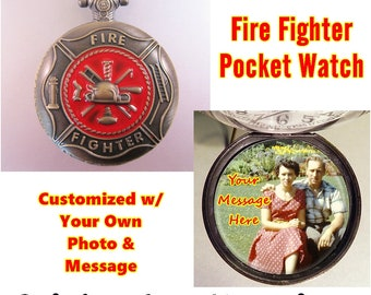 """Red Fire Fighter Fireman Fire Dept Pocket Watch Personalized w/ Your Photo w/31"""" & Message w/Necklace Chain OR 14"""" Belt Chain Vintage Style"""