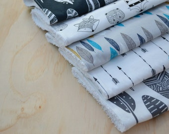 Baby Burp Cloths, Wipe Cloth, Tribal Animals with Arrows & Feathers, Blue Mix, Feeding, Cotton Toweling Back, Monochrome, Unisex, Set of 5