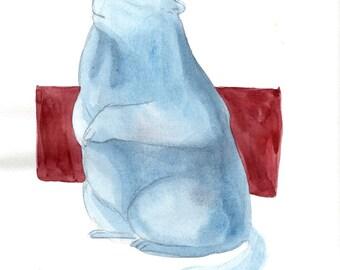 Original Watercolor Marmot