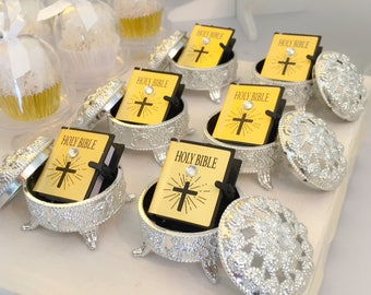Holy Communion Favour  - First Communion - Christening - Baptism Favor - Mini Bible with silver stand