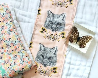 Pink, Turquoise, and Gold Fox and Woodland Floral Burp Cloth Set - Baby Girl Baby Shower Gift - Ready to Ship - RTS - Boho Babe