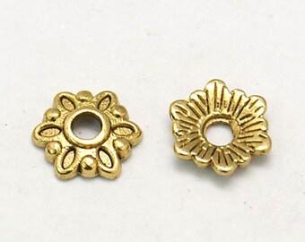 25 Pcs or 50 Pcs - 8mm Antique Gold Bead Caps - Gold Bead Caps - Antique Gold Caps - Jewelry Supplies