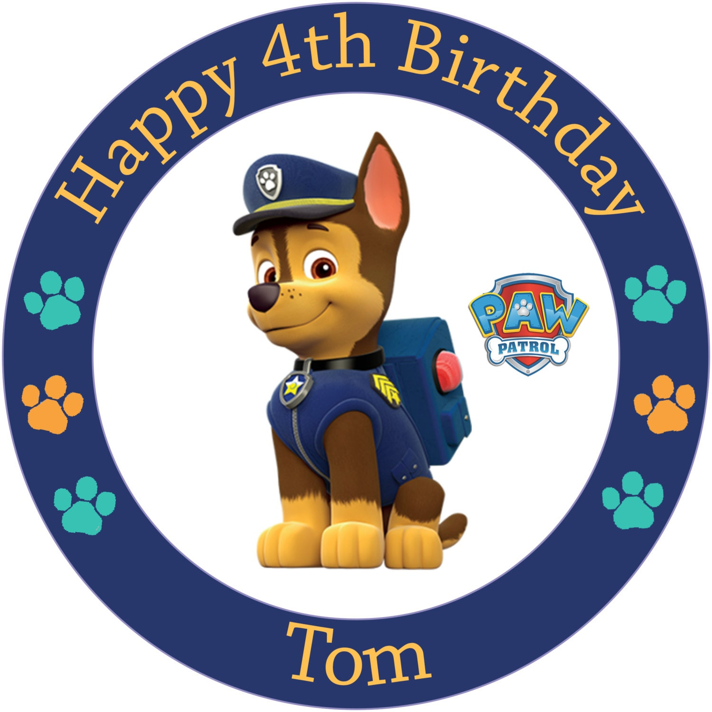 Paw Patrol Chase 7.5 Round Edible Birthday Cake Topper