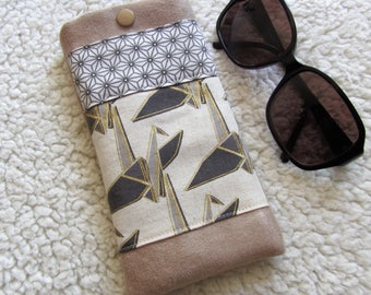 Glasses in beige suede case and Japanese fabrics patterned origami and asanoha cranes