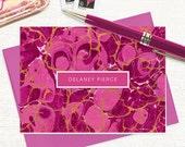 personalized stationery set - vintage marble paper DELANEY MAGENTA - set of 8 folded note cards - custom stationary - feminine cards