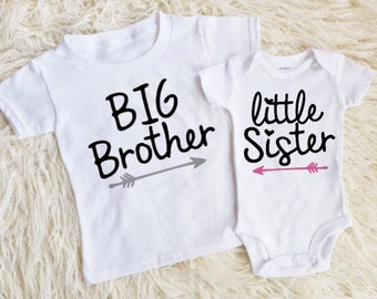 big brother little sister matching shirt and onesie big bro lil sis matching brother and sister matching siblings new baby girl sister